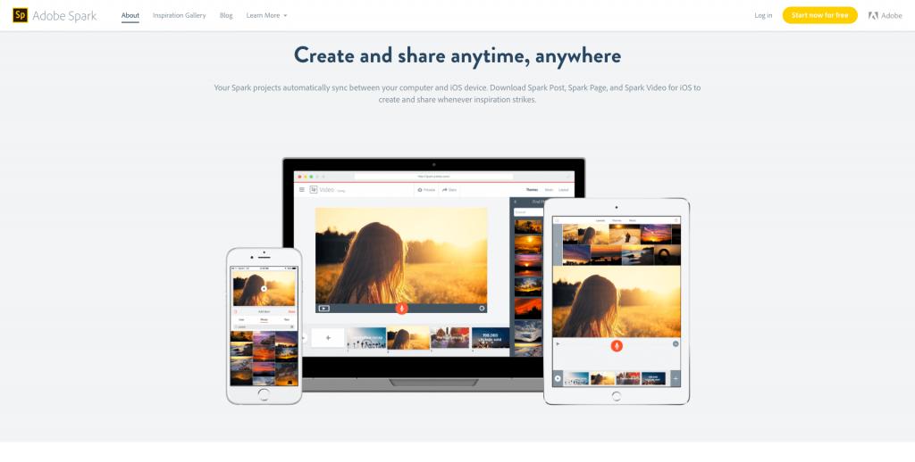 Outil de création d'image et de vidéo Adobe Spark