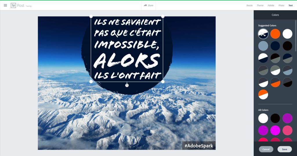 Adobe Spark Couleur du texte