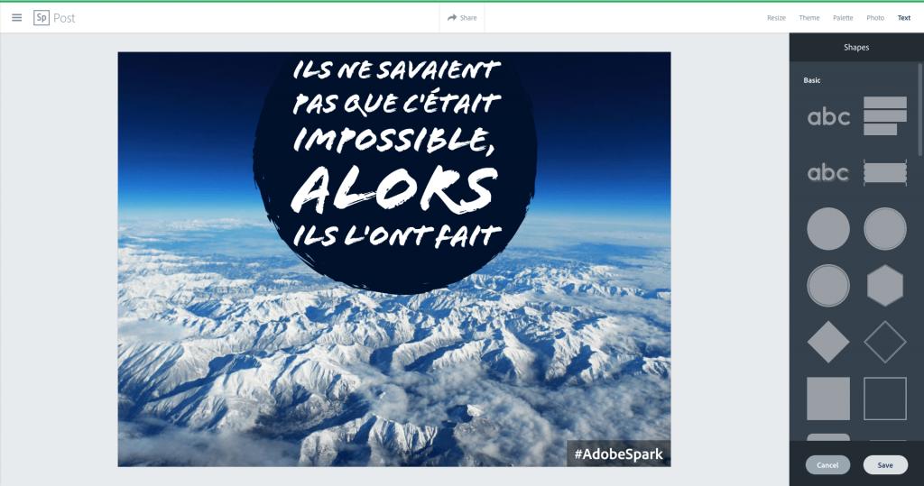 Adobe Spark Formes Texte