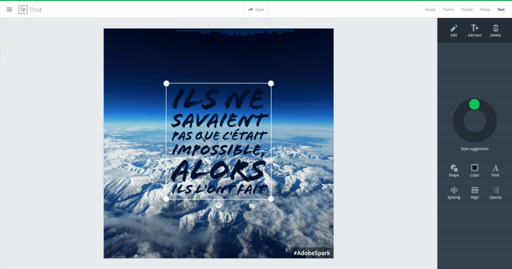 Adobe Spark Texte