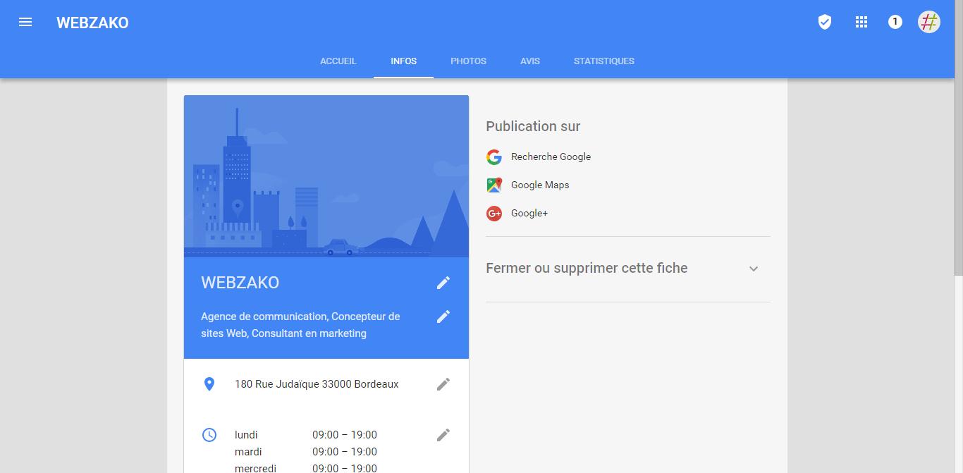 Fiche Google My Business - référencement local
