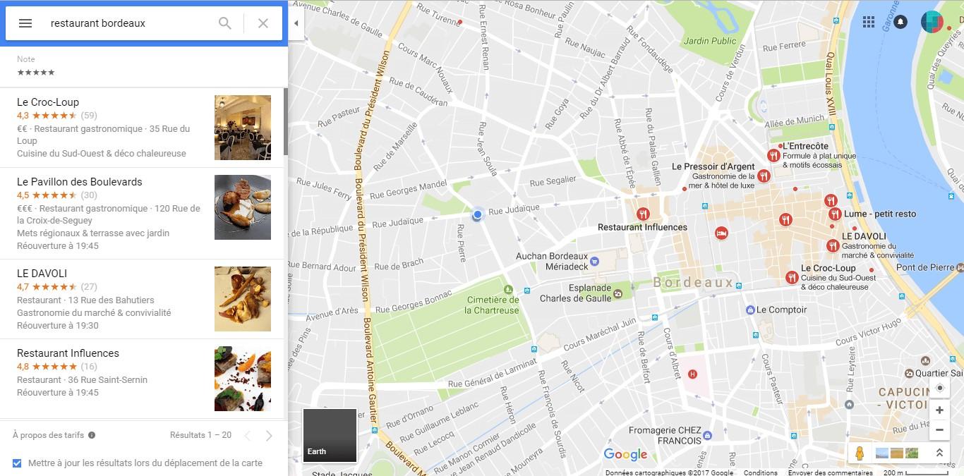 SEO local - résultats de recherche carte