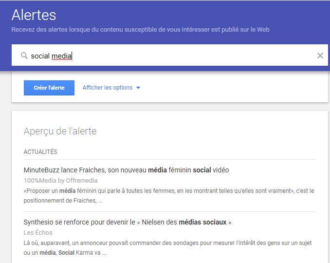 Google alerts veille mots-clés