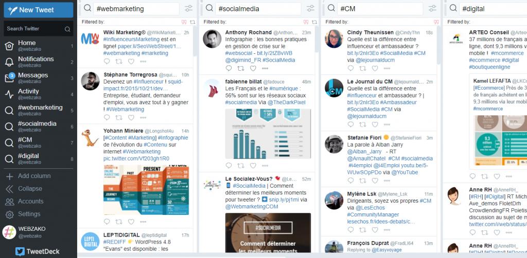 Tweetdeck outil pour faire sa veille sur Twitter