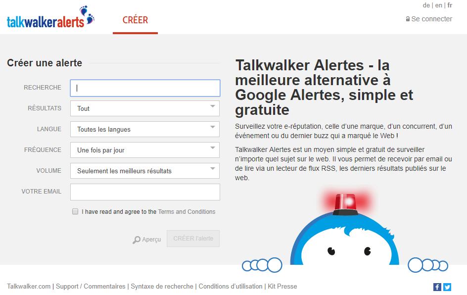 talkwalkerlalerts veille par mots-clés