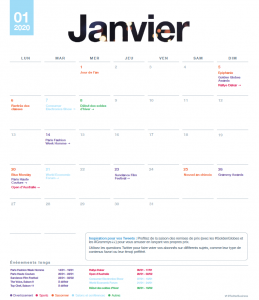 Calendrier éditorial Twitter 2020